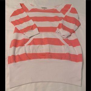 Women's large, striped, crew neck sweatshirt